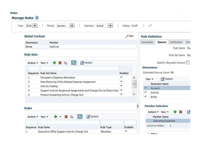 Oracle EPM profitability and cost management model builder